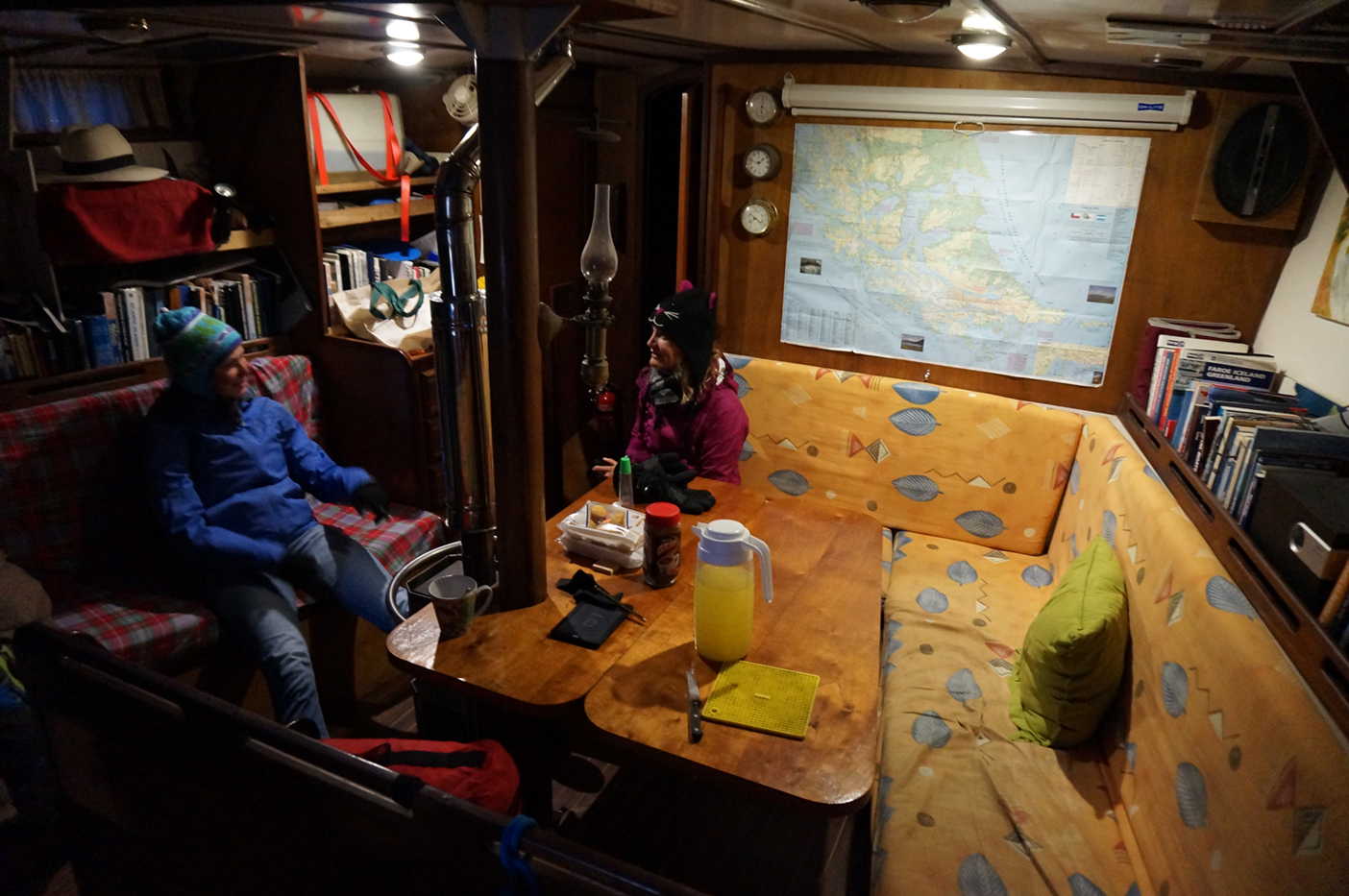 Waiting patiently in the ship's cabin.